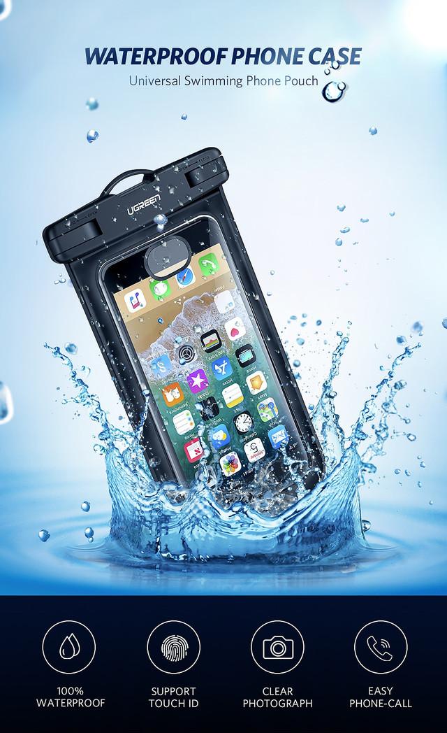 Защитный водонепроницаемый чехол Ugreen для телефона и документов 50919 50919P Черный