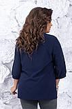 Блузка женская большого размера - 54, 56, 58  Цвета: тёмно синий, мятный, розовый, фото 4