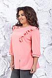 Блузка женская большого размера - 54, 56, 58  Цвета: тёмно синий, мятный, розовый, фото 2