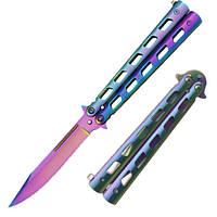 Нож бабочка хамелеон,складной,карманный  нож балисонг, для защиты 1025 Т