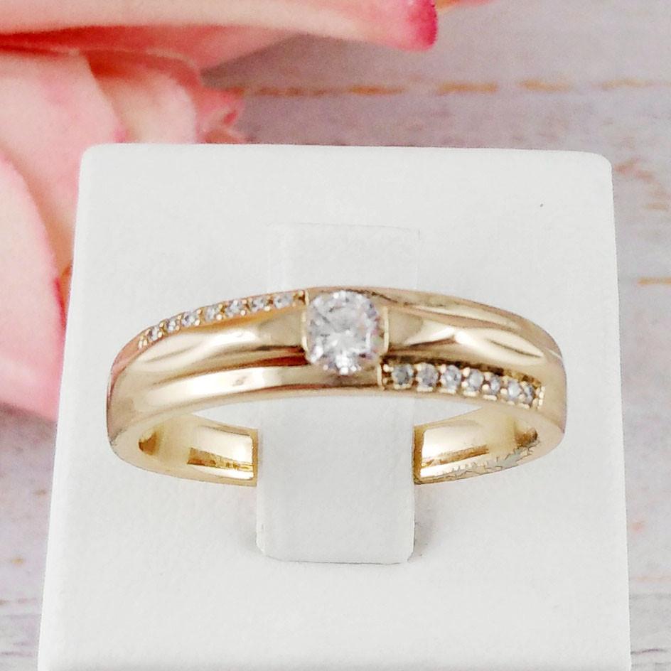"""Кольцо обручальное Xuping Jewelry размер 17 """"Амур"""" с гранями, медицинское золото, позолота 18К. А/В 3825"""