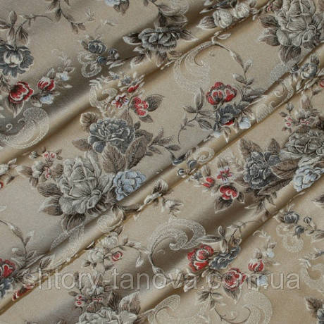 Декоративная плотная ткань гобелен розы красные