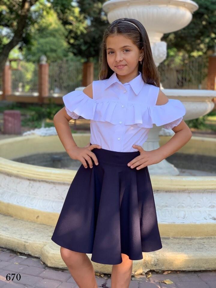 Блуза школьная для девочки короткий рукав плечи вырез х/б 128,134,140,146