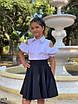 Блуза школьная для девочки короткий рукав плечи вырез х/б 128,134,140,146, фото 2