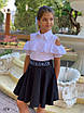 Блуза школьная для девочки короткий рукав плечи вырез х/б 128,134,140,146, фото 3