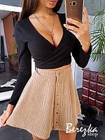 Вельветовая женская юбка (беж, розовый, серый и синий, С и М), фото 1