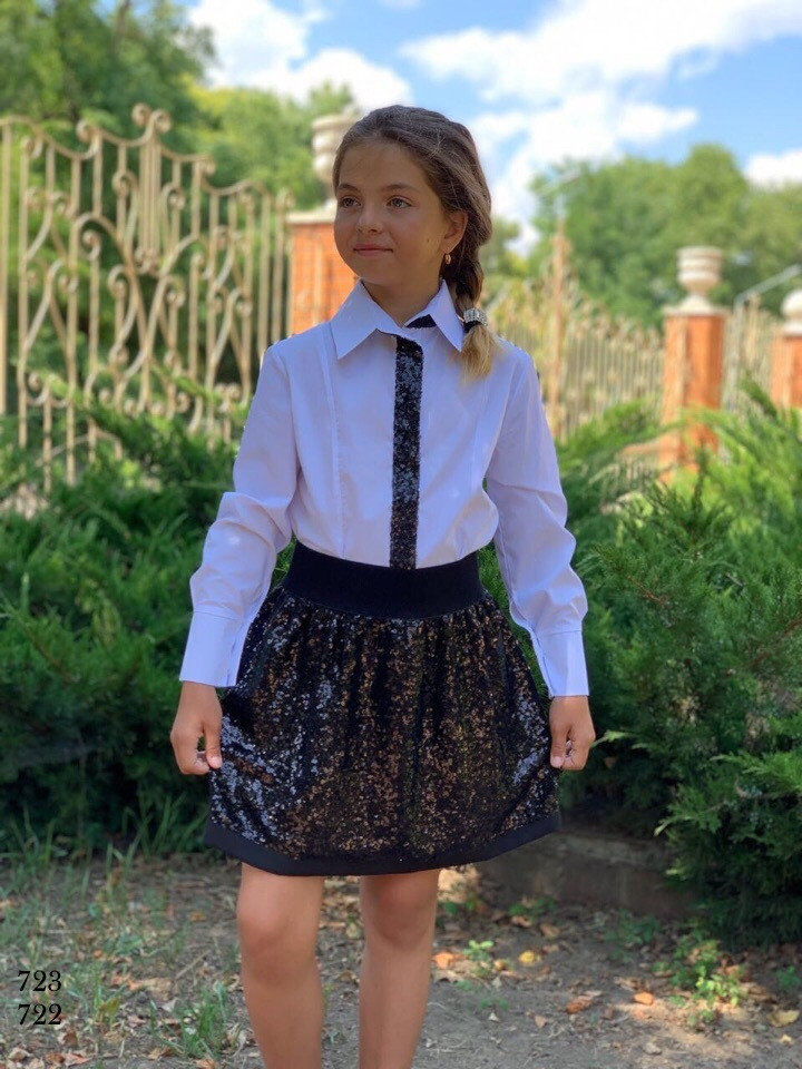 Блузка школьная для девочки длинный рукав х/б 122,128,134,140,146