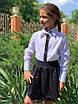 Блузка школьная для девочки длинный рукав х/б 122,128,134,140,146, фото 2