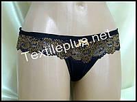 Трусики стринги Coeur joie черный-золото 8907