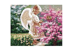 "Картина по номерам Идейка ""Ангелочек и птички"" 40х50см KHO1048"