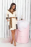 Халат женский велюровый короткий с капюшоном,42/44 44/46 46/48, код 0132, фото 2
