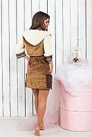 Халат женский велюровый короткий с капюшоном,42/44 44/46 46/48, код 0132, фото 3
