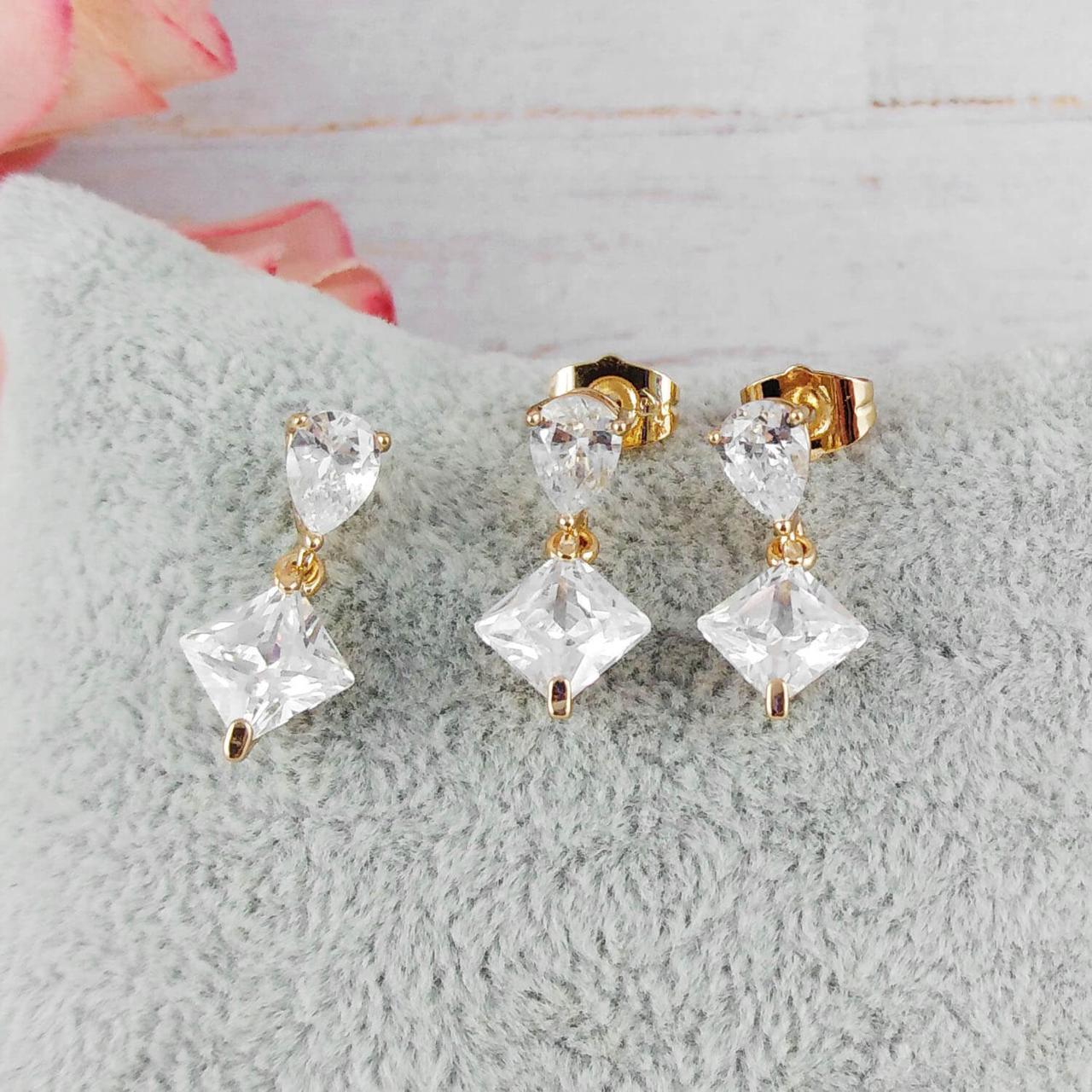 Набор Xuping Jewelry Белые ромбики, медицинское золото, позолота 18К. А/В 3813