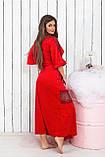 Халат длинный велюровый красного цвета с кружевами, Размер : с (42-46) ,  Код 0136, фото 2