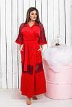 Халат длинный велюровый красного цвета с кружевами, Размер : с (42-46) ,  Код 0136, фото 3