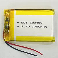 Батарея 1300 mAh 3.7V 603450 Литий-Полимер Аккумулятор GPS Навигатор MP3 Плеер Видео Регистратор