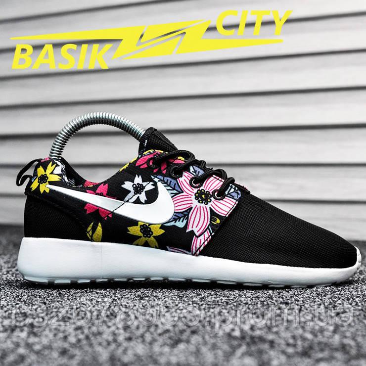 Женские кроссовки Nike Roshe Run Black Flower