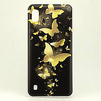 Чехол Print для Samsung Galaxy A10 2019 / A105F силиконовый бампер Butterflies Gold