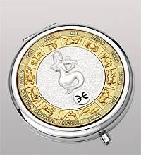 """Зеркальце круглое посеребренное из металла """"Знак зодиака - Рыбы"""" диаметр 7 см"""