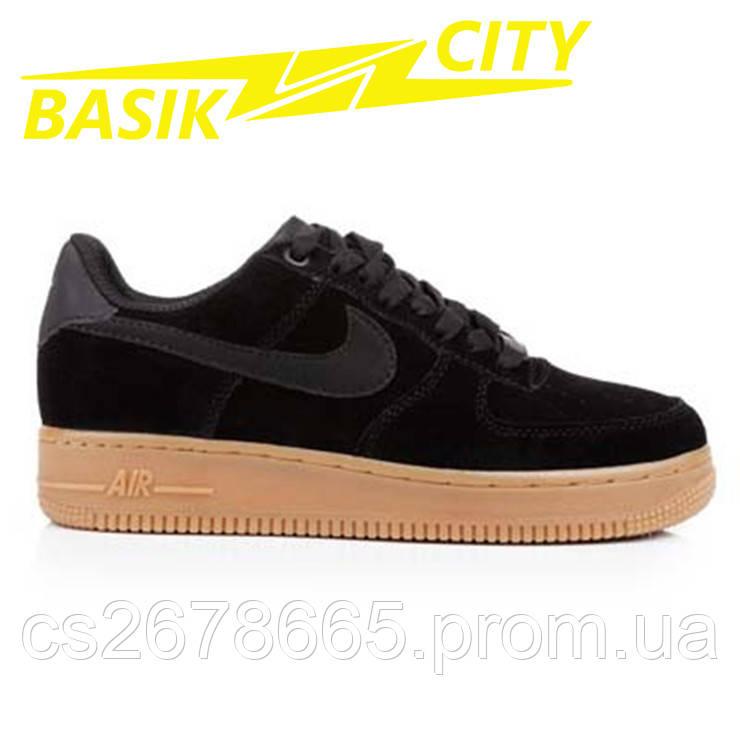 Кроссовки женские Nike Air Force Низкие Черные Замша