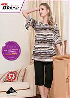 """Женская домашняя одежда полосатый верх """"иллюзия"""", свободные бриджы арт.34008"""