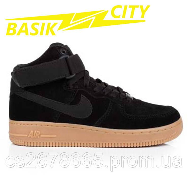 Кроссовки мужские Nike Air Force Высокие Черные Замшевые