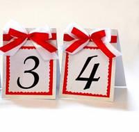 Номер односторонний для свадьбы в красном с белым (двойной бант)