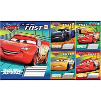 Тетрадь школьная, 12 листов, линейка, Cars Fast (Тачки), цена за упаковку, 762924