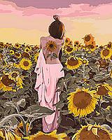 """Картина по номерам на холсте Идейка """"Подсолнуховое счастье"""" 4* (40х50см)"""