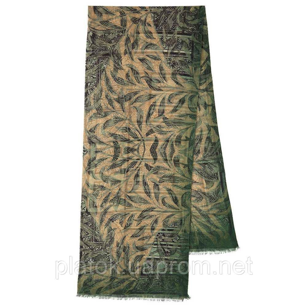 10788-10 кашне мужское, павлопосадский шарф (кашне) шерстяной (разреженная шерсть) с осыпкой