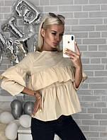 Рубашка женская с воланами молочная, фото 1