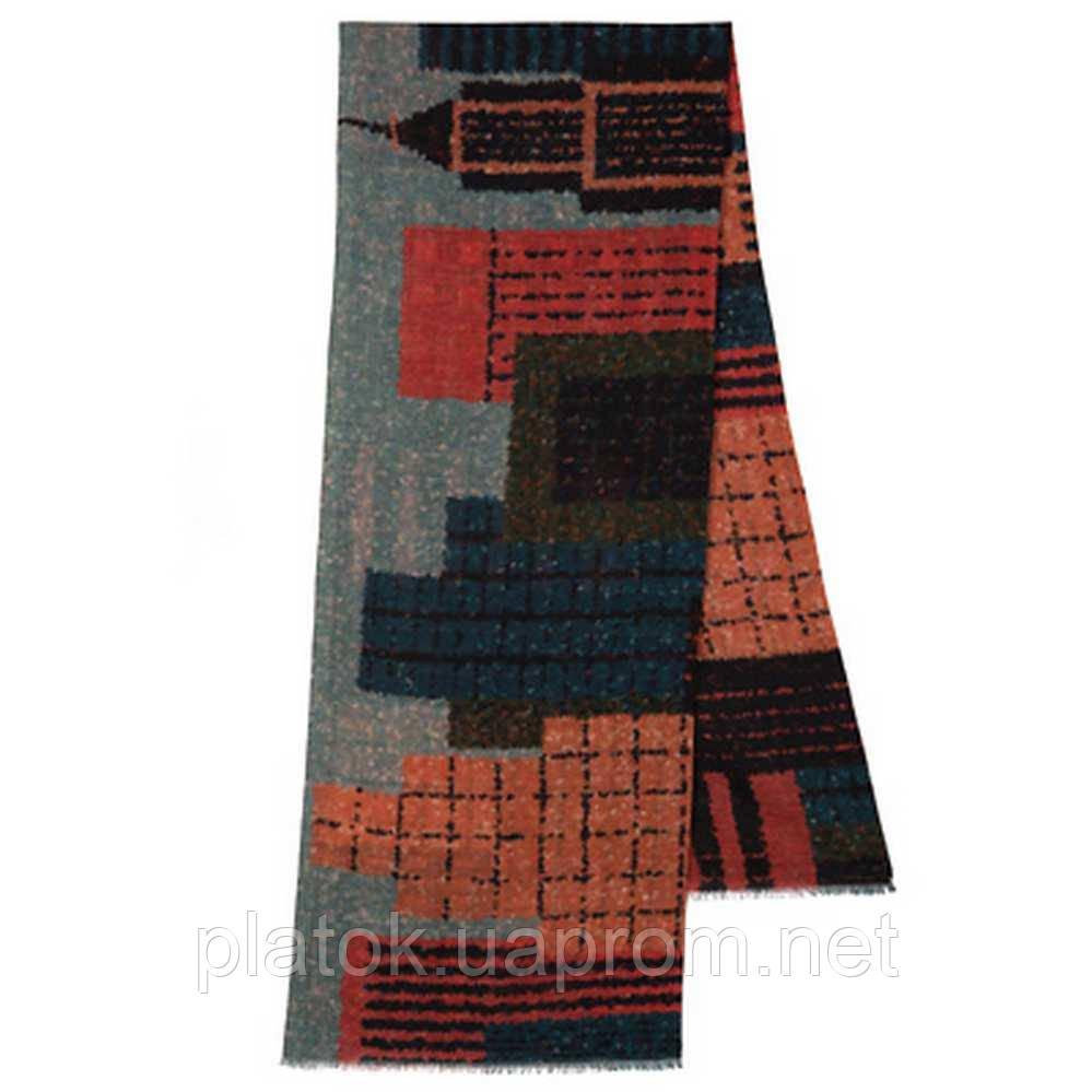 10670-5 кашне мужское, павлопосадский шарф (кашне) шерстяной (разреженная шерсть) с осыпкой