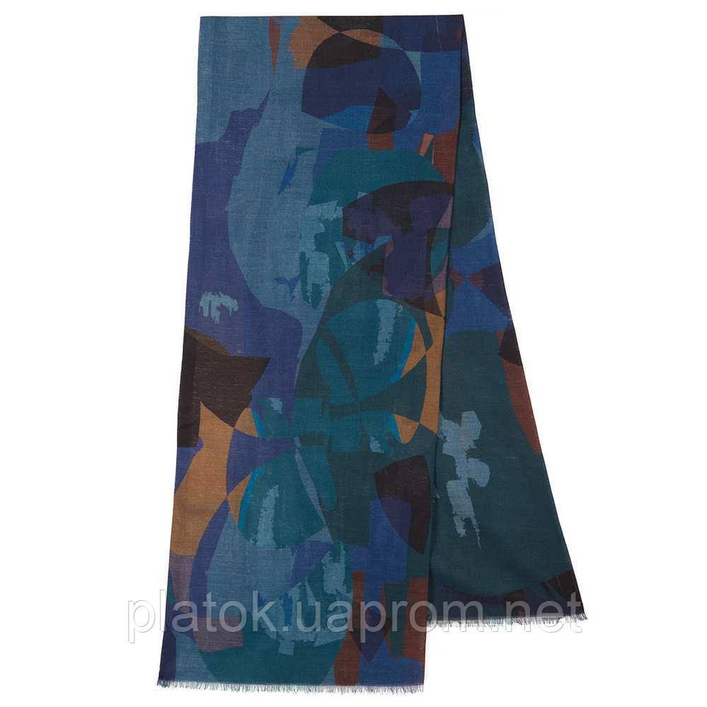 10669-12  кашне мужское, павлопосадский шарф (кашне) шерстяной (разреженная шерсть) с осыпкой
