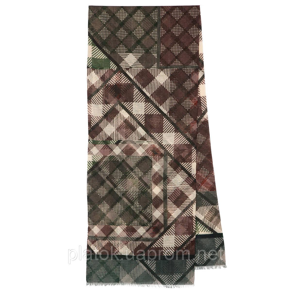 10486-9 кашне мужское, павлопосадский шарф (кашне) шерстяной (разреженная шерсть) с осыпкой