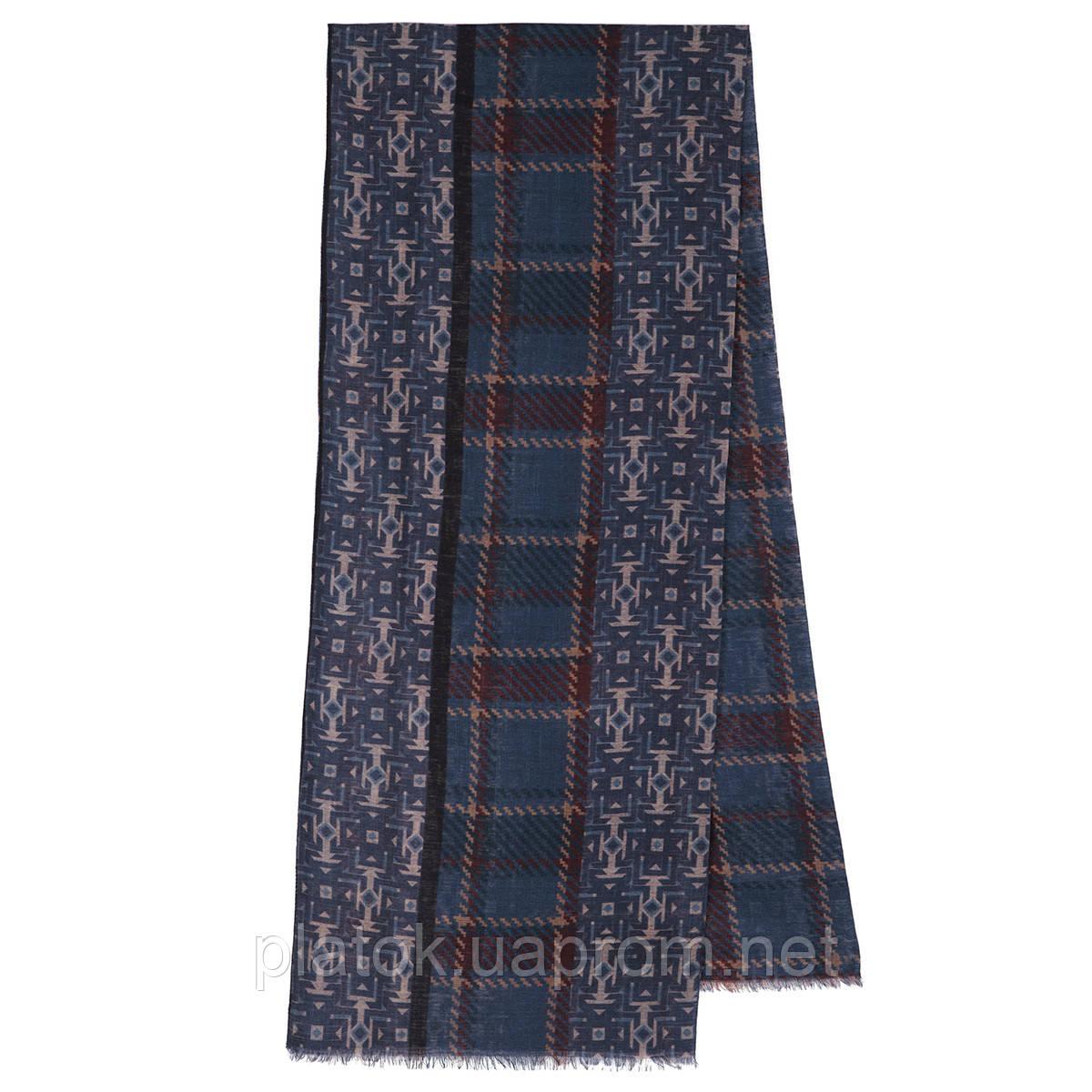 10483-14  кашне мужское, павлопосадский шарф (кашне) шерстяной (разреженная шерсть) с осыпкой