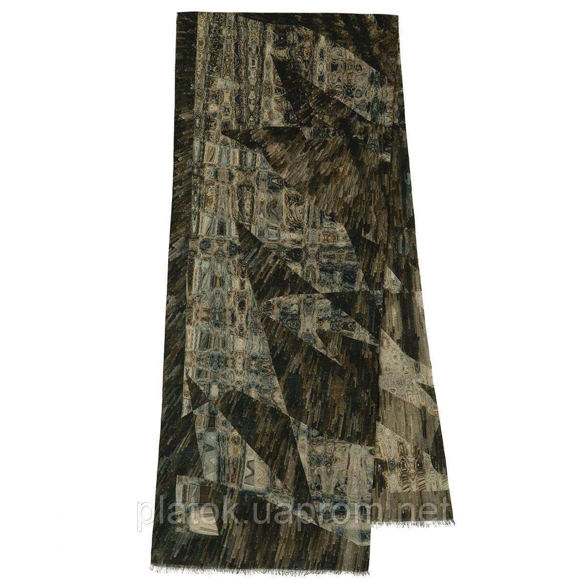 10375-17  кашне мужское, павлопосадский шарф (кашне) шерстяной (разреженная шерсть) с осыпкой