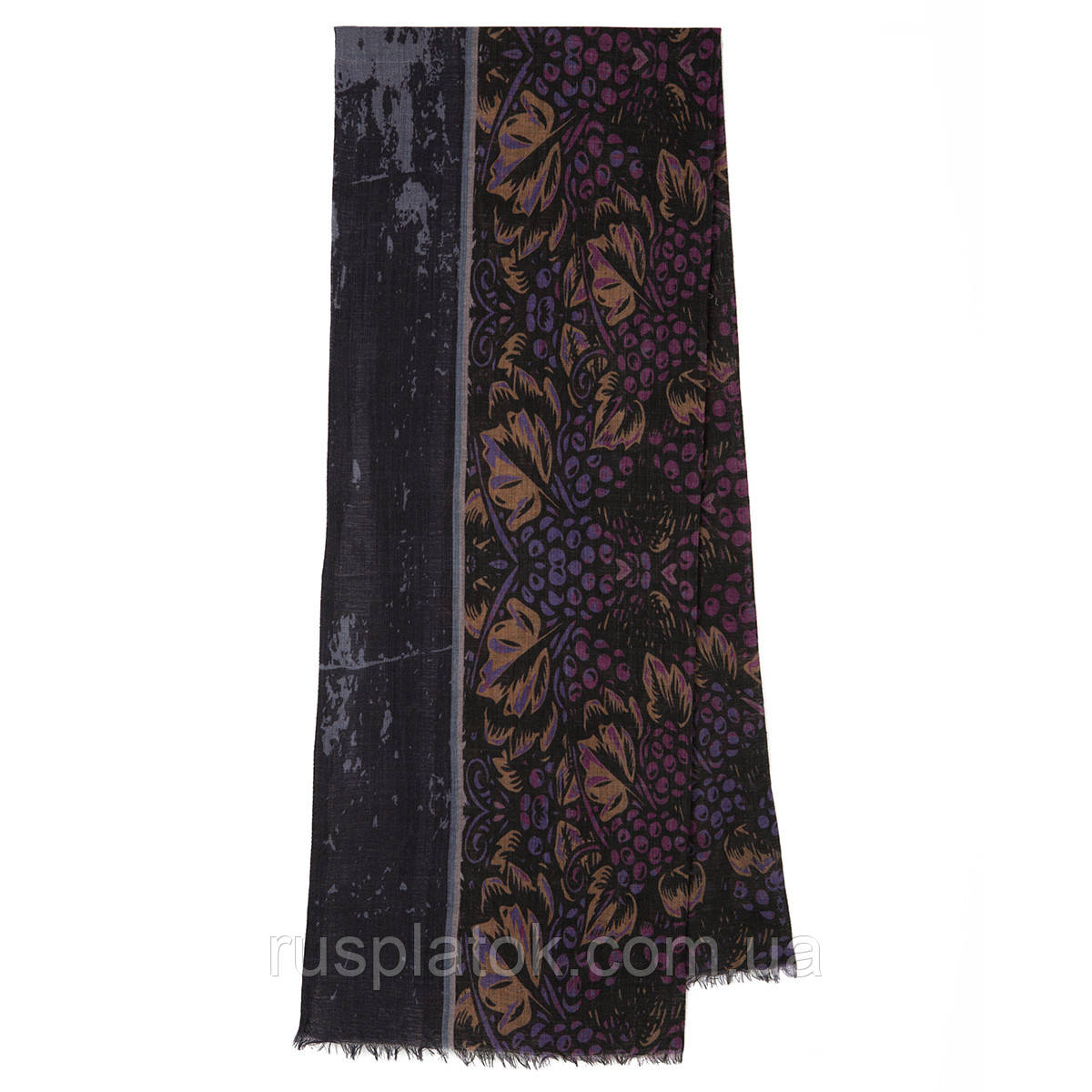 10373-15, павлопосадский шарф (кашне) шерстяной (разреженная шерсть) с осыпкой
