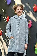 Детский вязаный кардиган оверсайз с капюшоном для девочки, фото 1