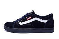 Мужские кожаные кеды Vans Clasic Blue (реплика), фото 1