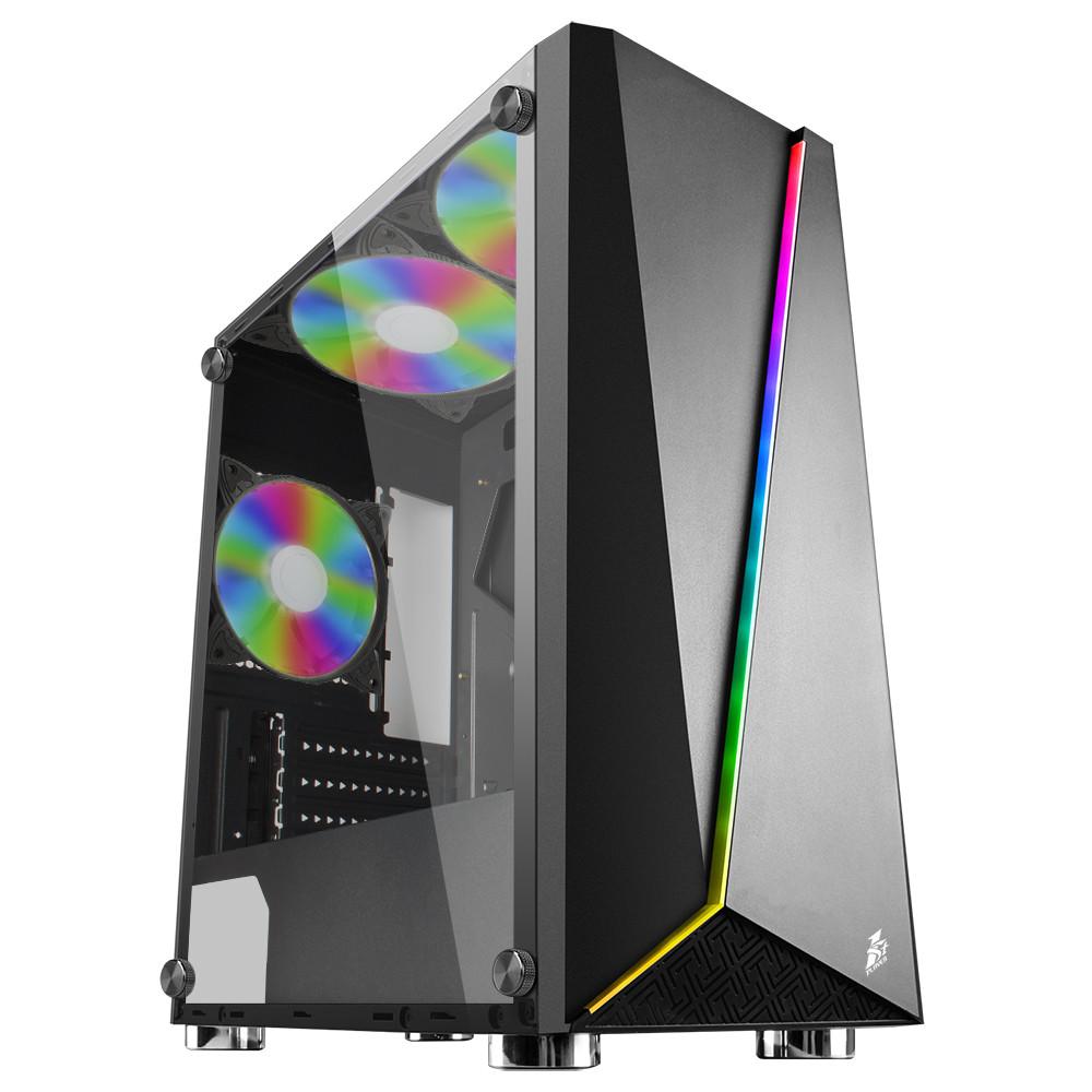 Корпус 1stPlayer Rainbow-R7-G2 RGB LED Black без БП