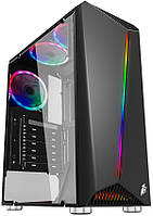 Корпус 1stPlayer Rainbow-R3-G2 RGB Black без БП