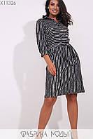Трикотажное платье до колен, рукавами 3/4  Разные цвета Большие размеры