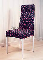 Чехлы для стульев цвет темно синий с розами
