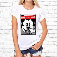"""Жіноча футболка Push IT з принтом, Swag Mickey Mouse (Мікі Маус) """"Life is a joke"""""""