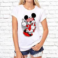 """Жіноча футболка з принтом, Swag Mickey Mouse (Мікі Маус) """"Disobey"""" Push IT"""