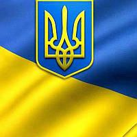 Флаг Украины, габардин, 90х140см, пенный герб