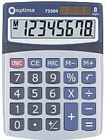 Калькулятор наст. Optima 75504, 8 разр., фиксированный угловой, 160х118х41, серый