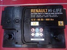 Акумулятор (60 А*год) Renault Logan, Laguna, Megane, Captur, Sandero, Clio (Original) -7711238597