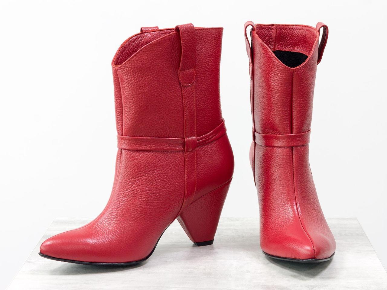 Стильные женские сапоги казаки из натуральной кожи флотар ярко-красного цвета