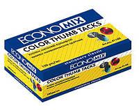 Кнопки Economix , 100шт., разноцвет., матер. шляпки -металл, карт. кор.